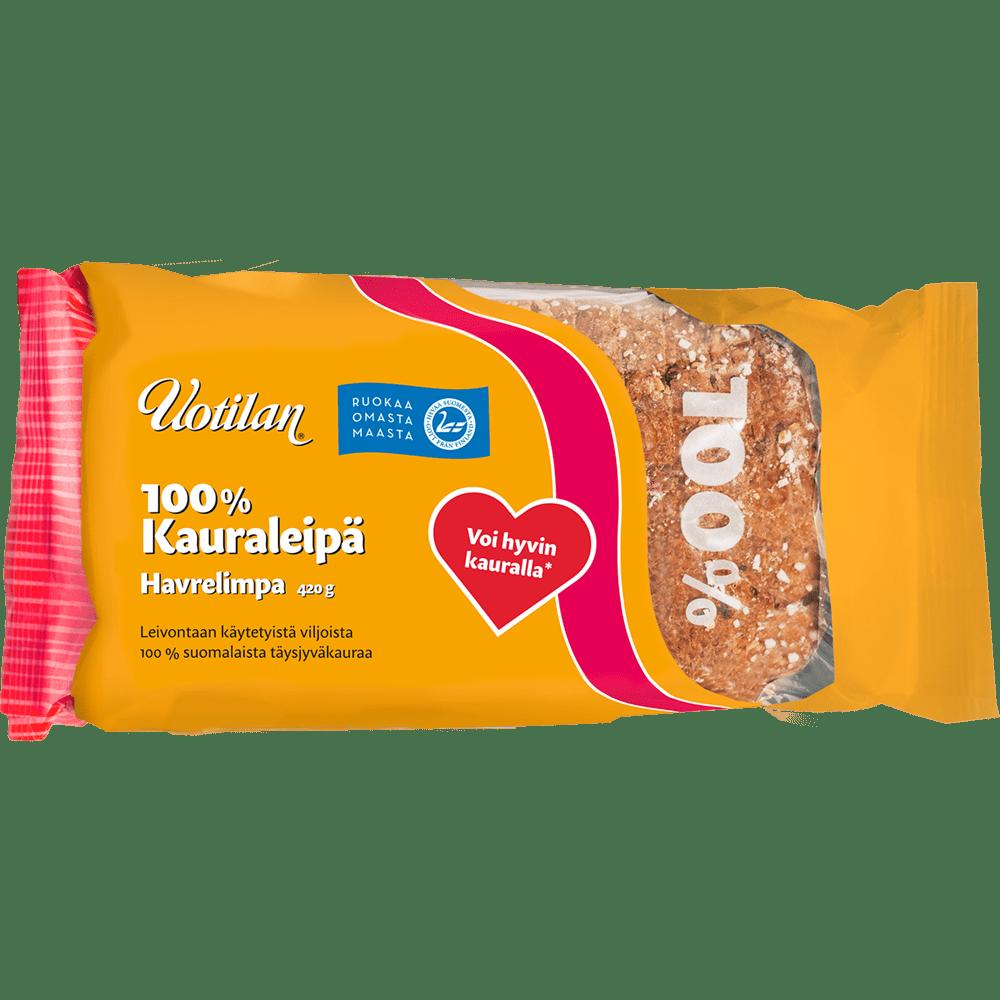 Uotilan 100% kauraleipä pakkauskuva edestäpäin
